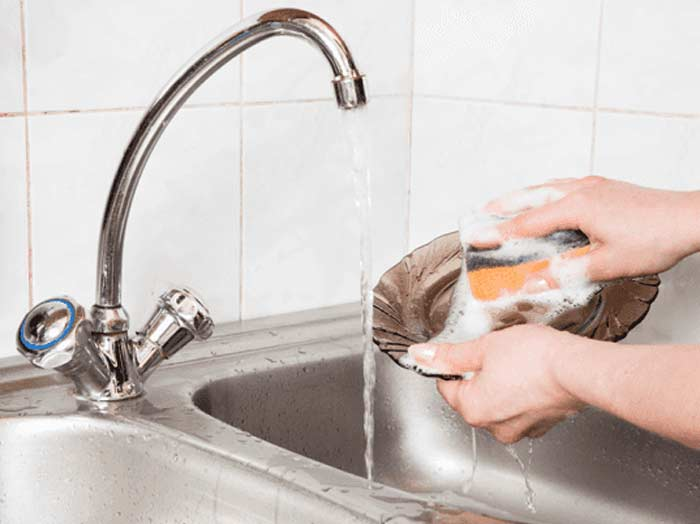 avoid running taps to save water