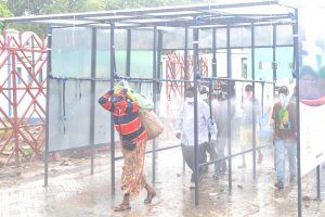 Sanitising booths near Likoni Ferry at Kilindini Harbour.
