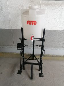Roto's 25-litre pedal hand wash station. The firm is also making hand sanitisers as new business line during Covid-19.