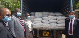 Kenya government, JICA donate water treatment chemicals to water services firms.