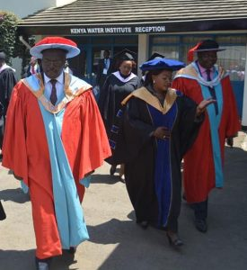 Water, Sanitation and Irrigation minister Simon Chelugui attends Kenya Water Institute's graduation.