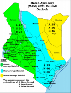 A map of Kenya showing amounts of rainfall during March-April-May 2021 season.