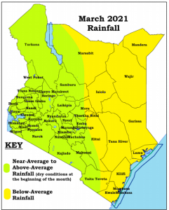 A Kenyan map showing the expected rainfall pattern in March 2021 by counties.