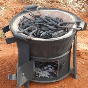A ceramic charcoal jiko.