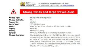 Kenya Meteorological Department Alert