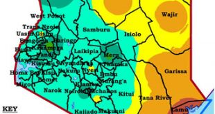 A Kenyan map showing March-April-May 2021 rainfall as percentage of long-term average of March-April-May rainfall. Diagram by Kenya Meteorological Department.
