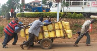 Men pulling handcart with water jerry cans.